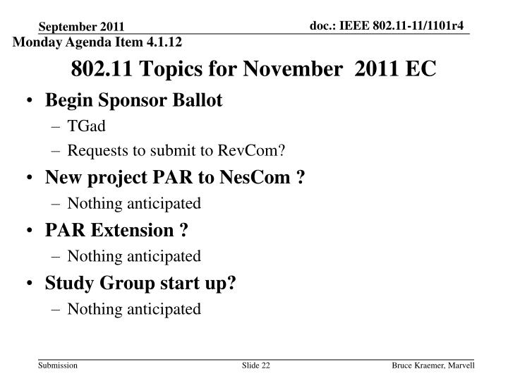 Monday Agenda Item 4.1.12