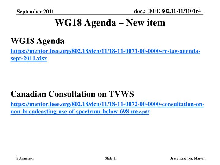 WG18 Agenda – New item