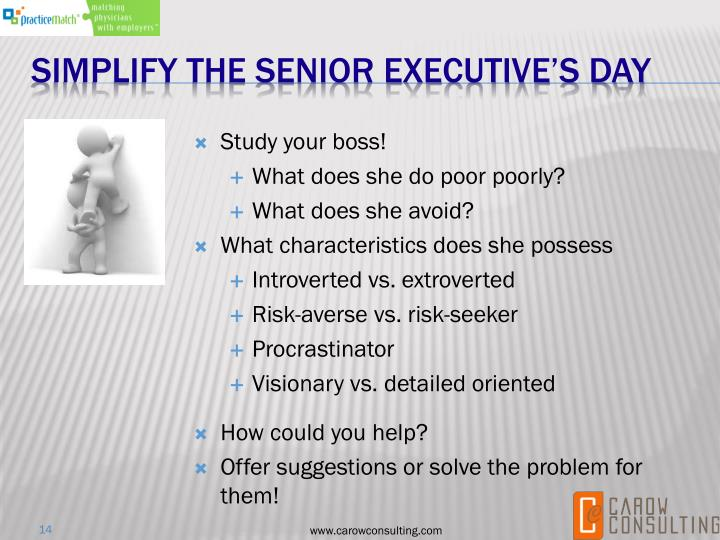 Simplify the senior executive's day