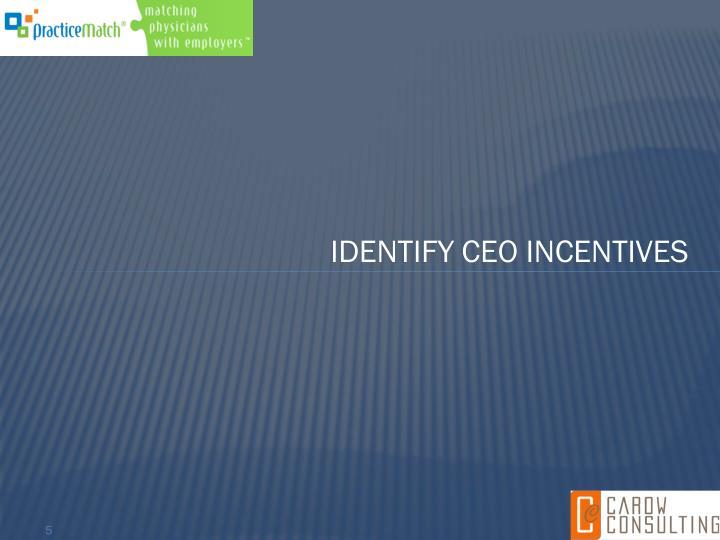 Identify CEO incentives
