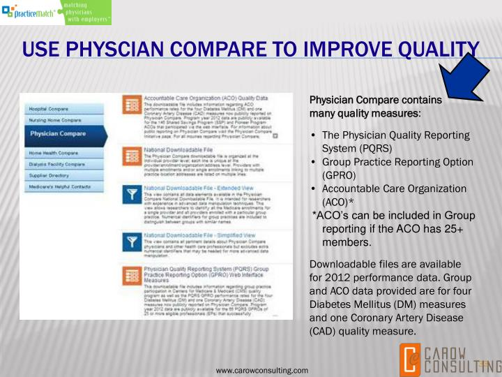 USE PHYSCIAN COMPARE TO IMPROVE QUALITY