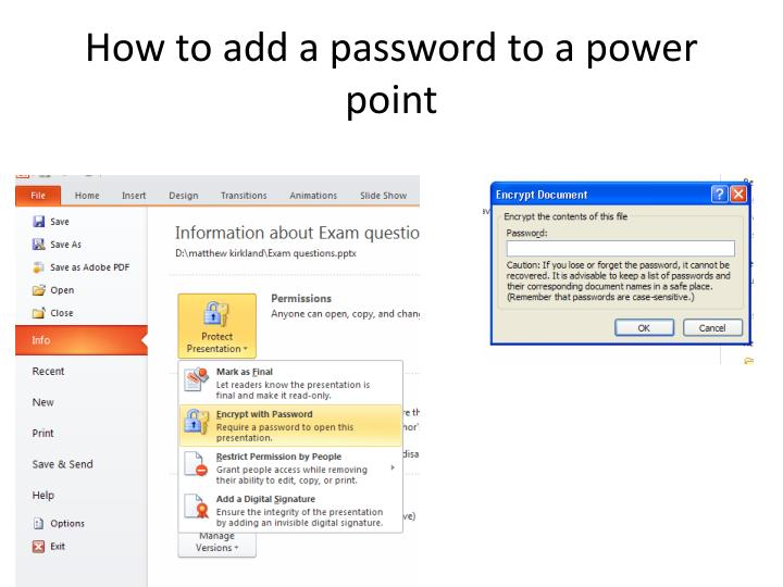 How to add a password to a power point