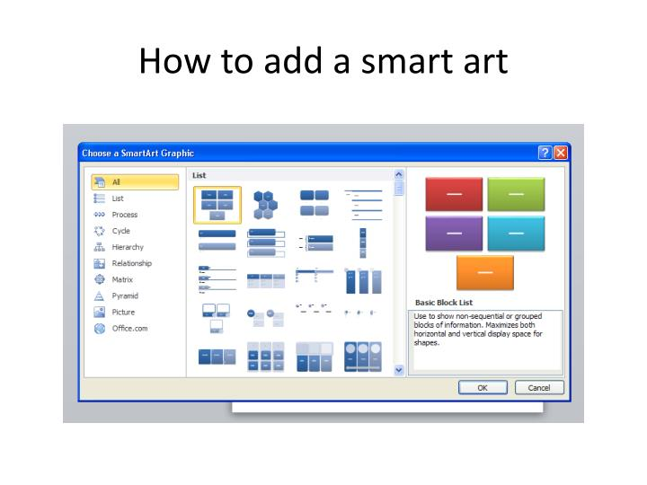 How to add a smart art
