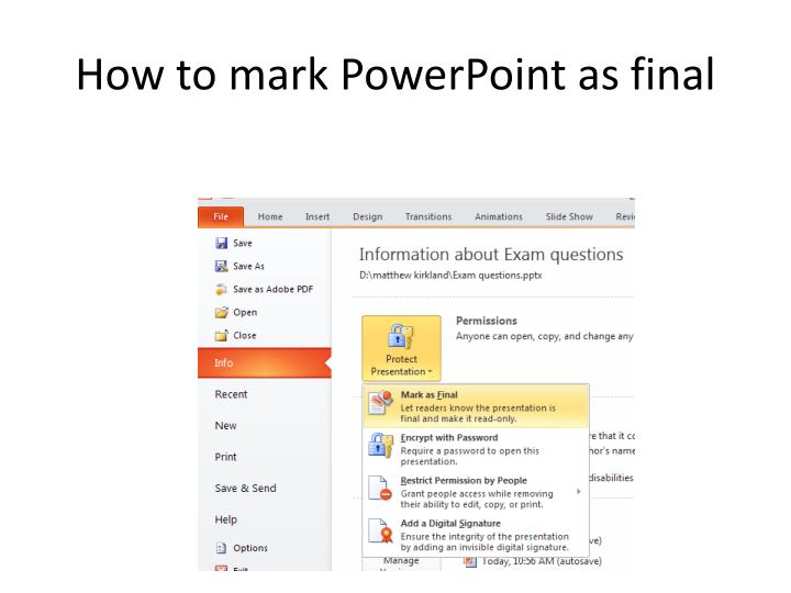 How to mark PowerPoint as final