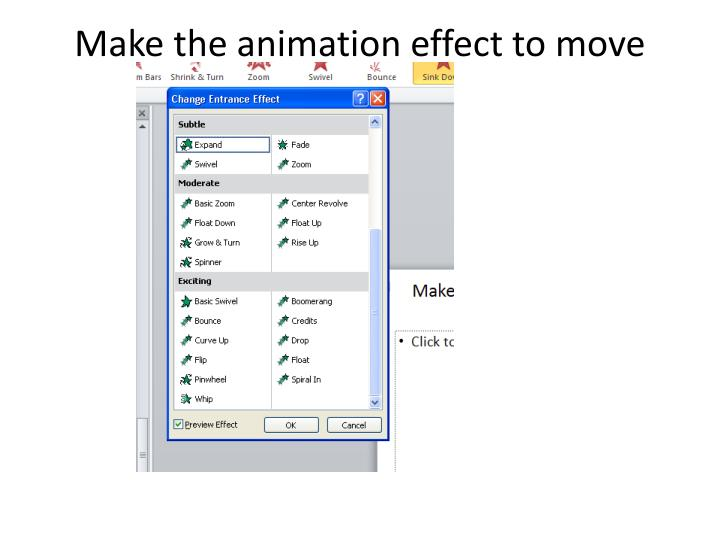 Make the animation effect to move down