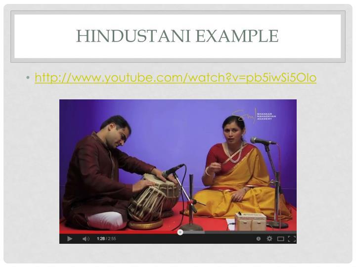 Hindustani Example