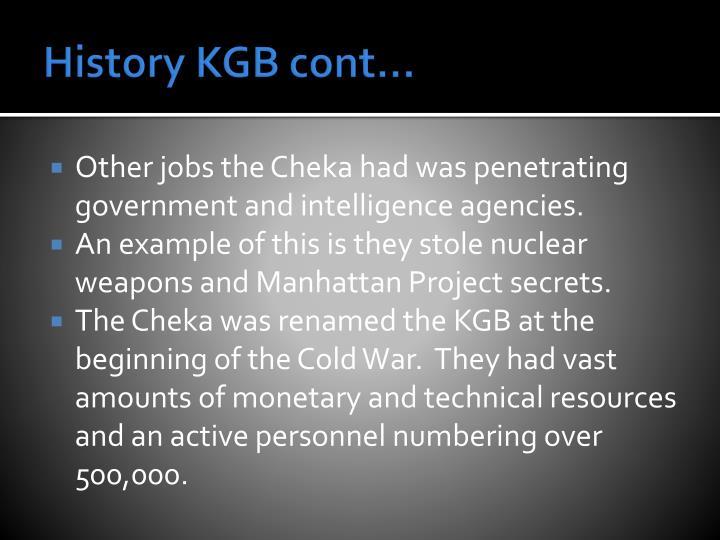 History KGB cont…