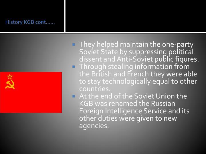 History KGB cont……