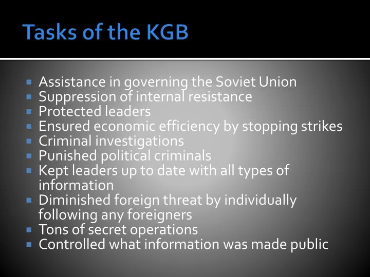 Tasks of the KGB