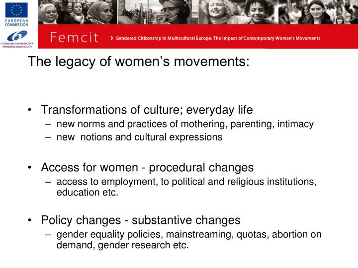The legacy of women's movements: