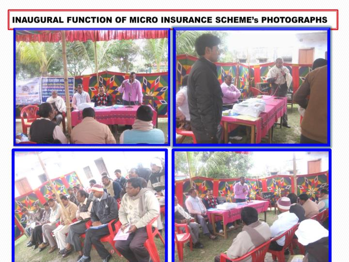 INAUGURAL FUNCTION OF MICRO INSURANCE SCHEME's PHOTOGRAPHS