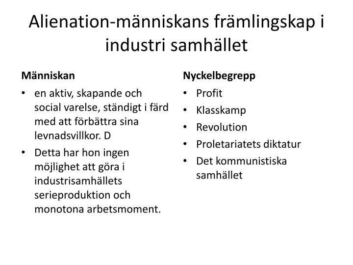 Alienation-människans främlingskap i industri samhället