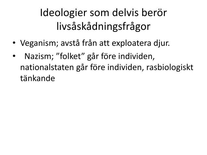 Ideologier som delvis berör livsåskådningsfrågor