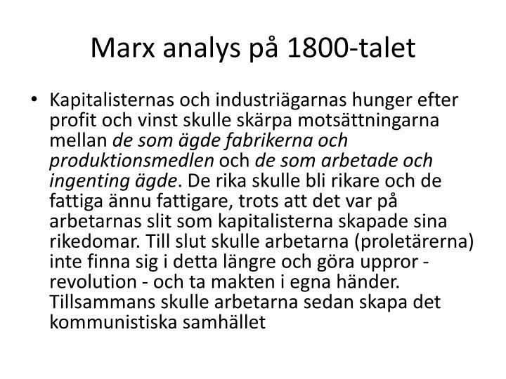 Marx analys på 1800-talet
