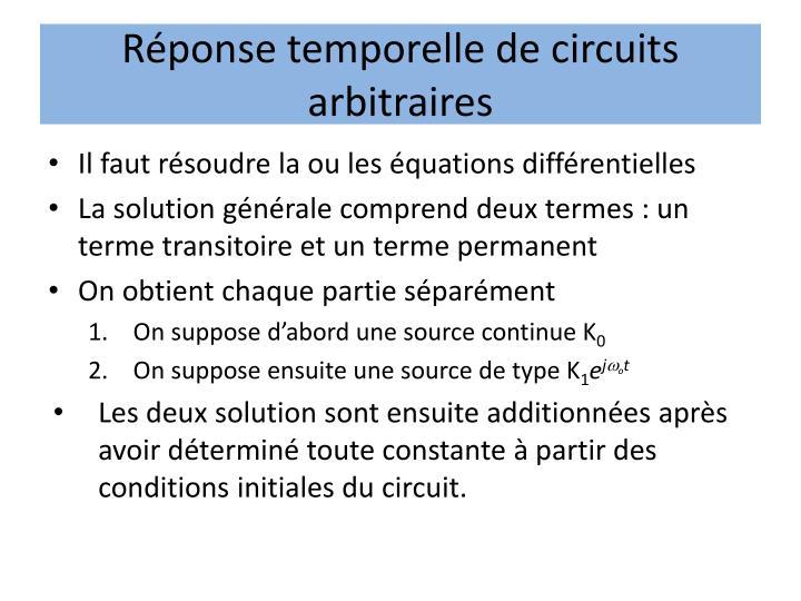 Réponse temporelle de circuits arbitraires