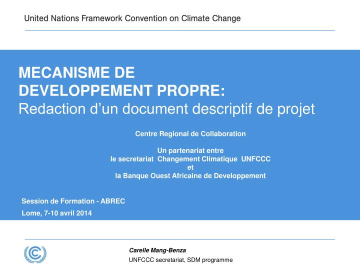 Mecanisme de developpement propre redaction d un document descriptif de projet