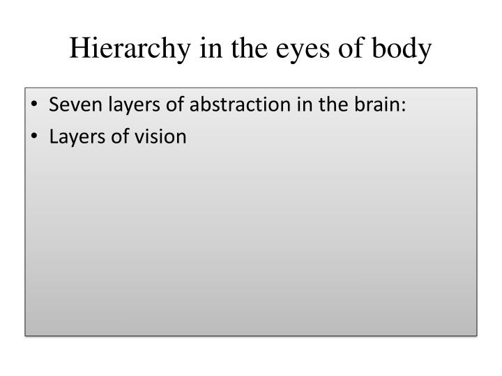 Hierarchy in the eyes of body