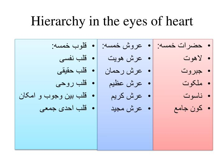 Hierarchy in the eyes of heart