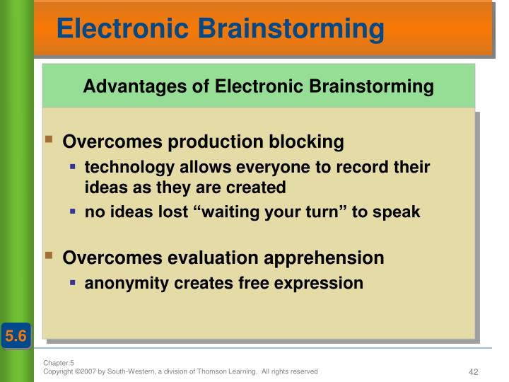 Advantages of Electronic Brainstorming