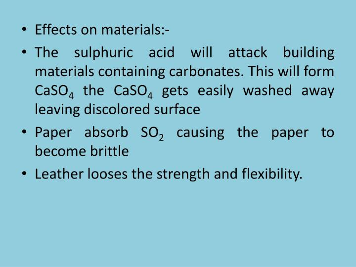 Effects on materials:-