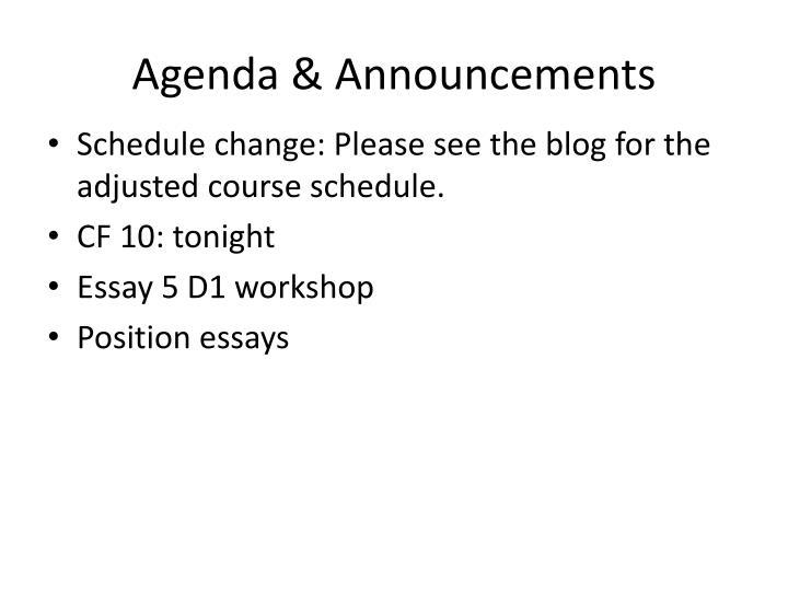 Agenda & Announcements