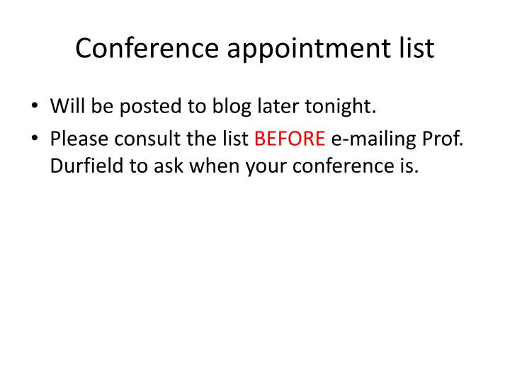 Conference appointment list