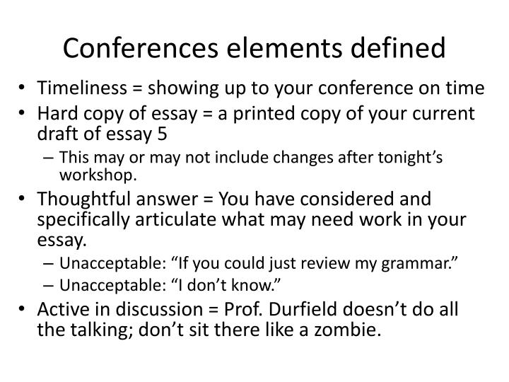 Conferences elements defined