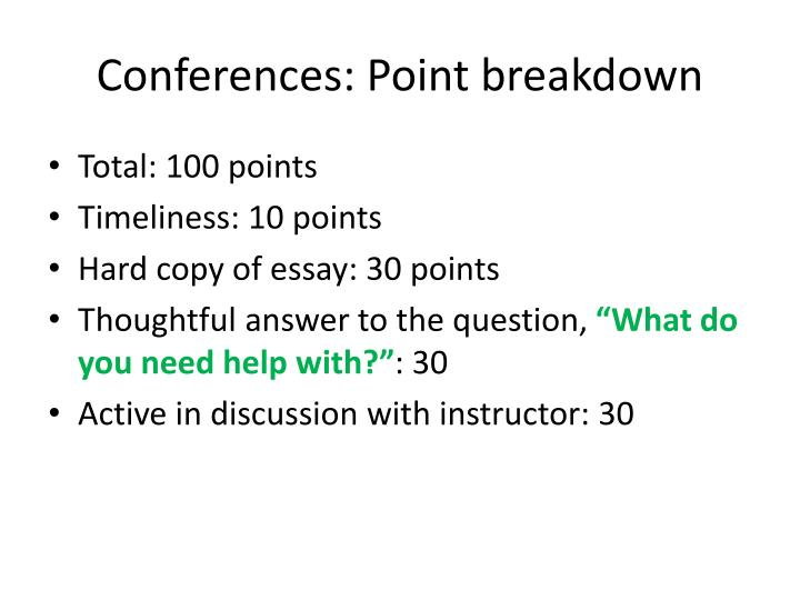 Conferences: Point breakdown