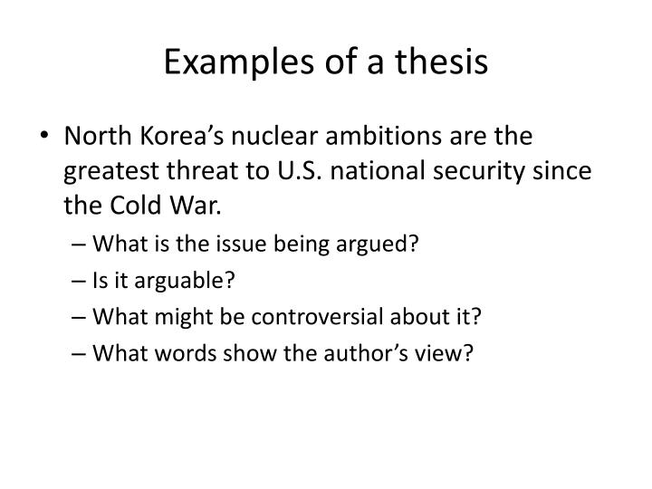 Examples of a thesis