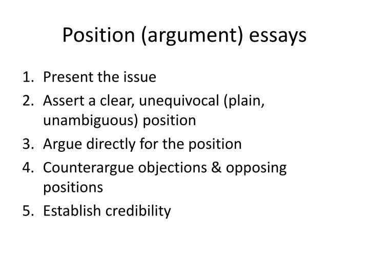 Position (argument) essays