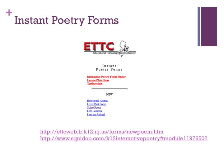 Instant Poetry Forms