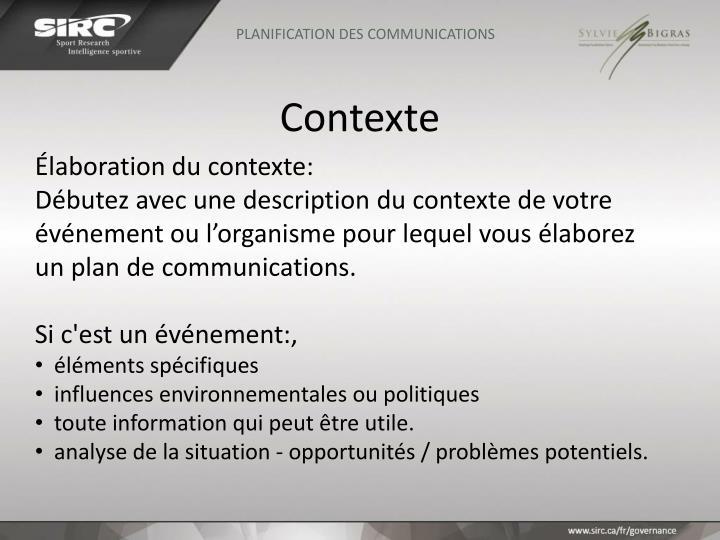 PLANIFICATION DES COMMUNICATIONS
