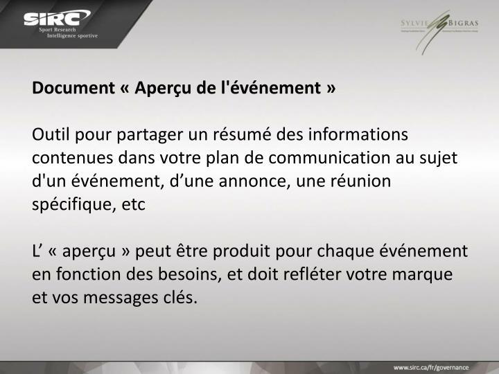 Document «Aperçu de l'événement»