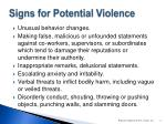 signs for potential violence