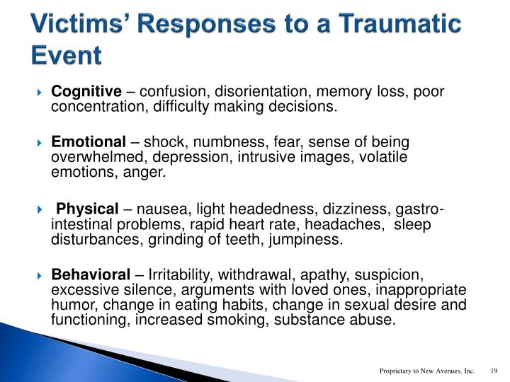 Victims' Responses to a Traumatic Event