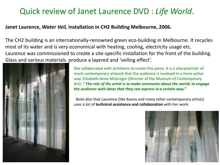 Quick review of Janet Laurence DVD :