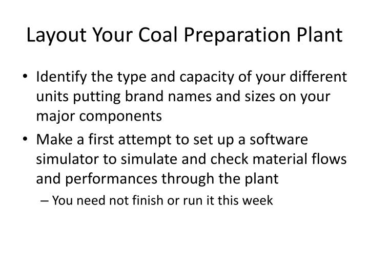 Layout Your Coal Preparation Plant