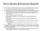 more market refinement needed