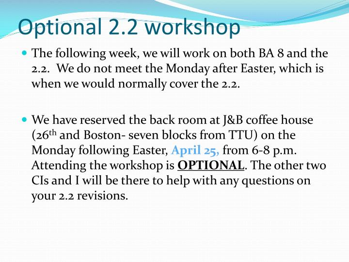 Optional 2.2 workshop