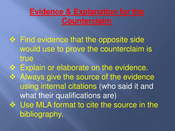 Evidence & Explanation for the Counterclaim