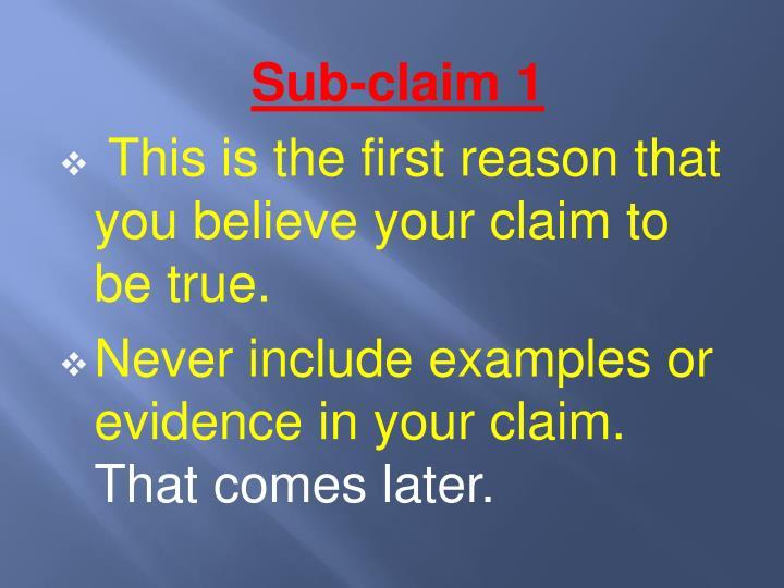 Sub-claim 1