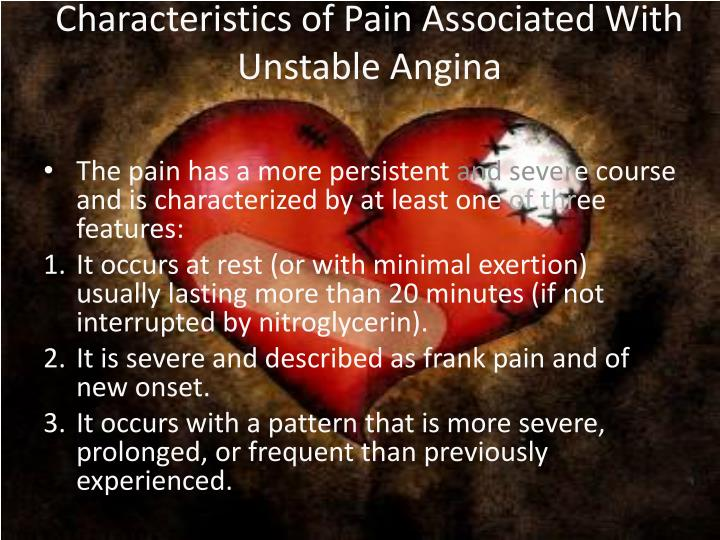 Characteristics of Pain Associated With Unstable Angina