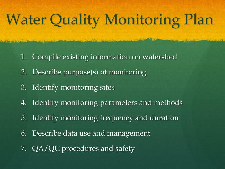 Water Quality Monitoring Plan