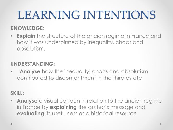 Learning intentions