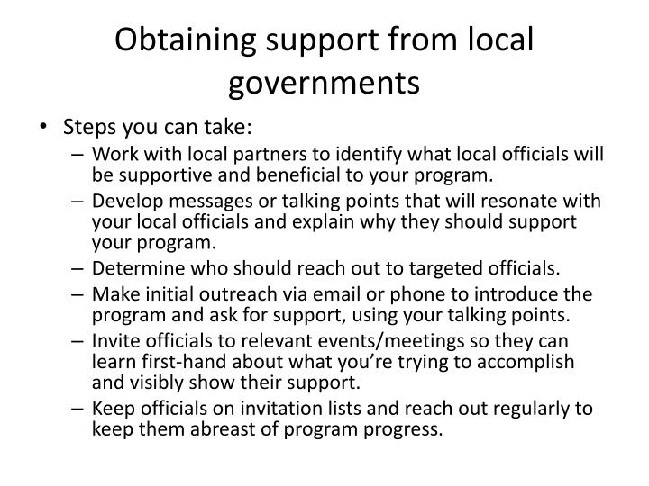 Obtaining support from local governments