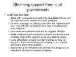 obtaining support from local governments1