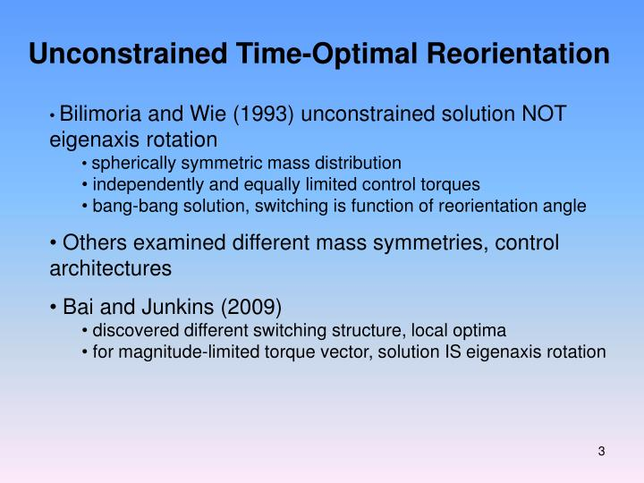 Unconstrained Time-Optimal Reorientation