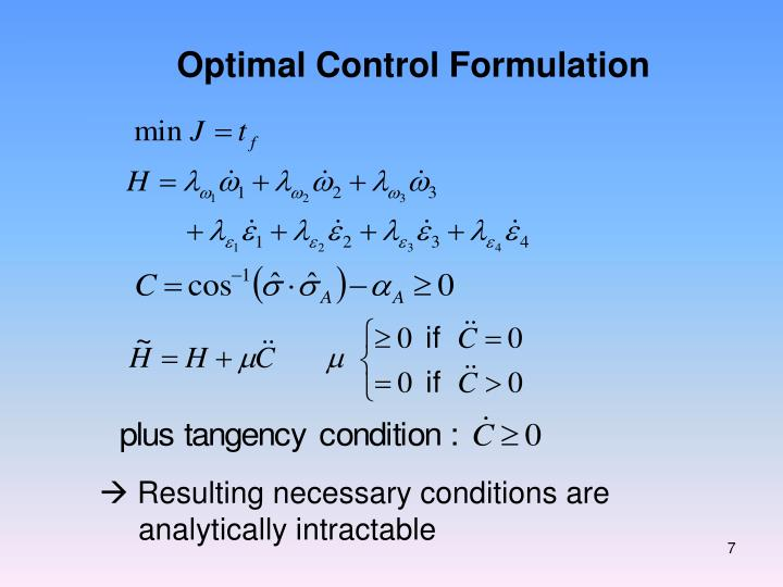 Optimal Control Formulation