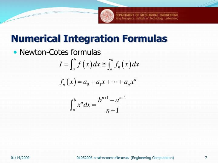 Numerical Integration Formulas
