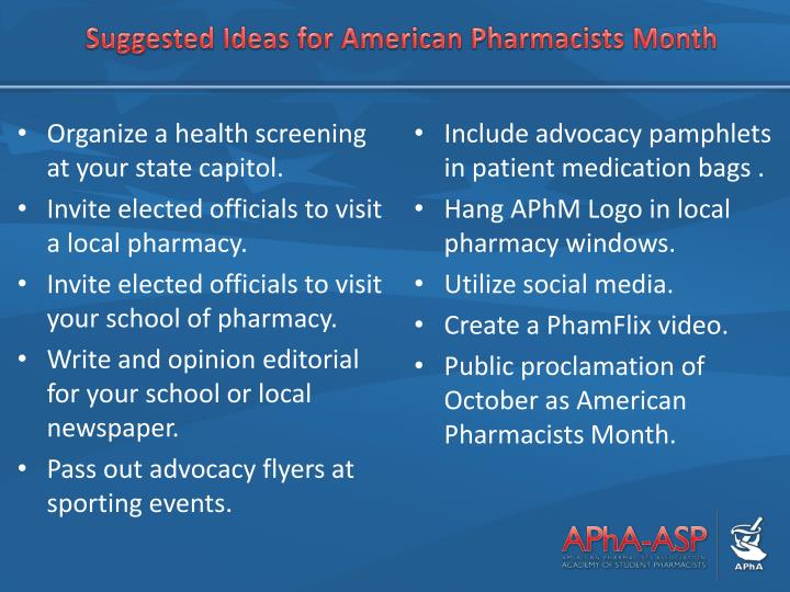 Suggested Ideas for American Pharmacists Month